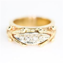 Estate 10kt Gold Fancy Band Ring, Size 5.5 4 Diamo