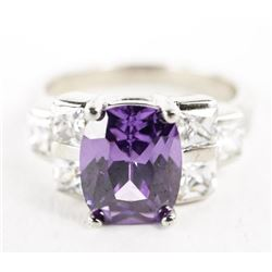 Estate Sterling Silver Ring Oval Amethyst and Swar
