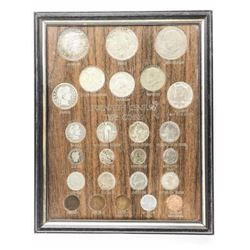 USA 20th Century Type Coins, Framed.