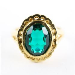 Ladies 10kt Estate Gold Ring Size 5.5 Oval Green S