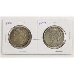 Lot (2) 1921 and 1922 USA Silver Dollar