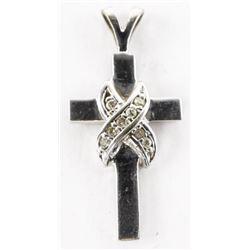Estate 14kt White Gold Diamond Set Cross Pendant
