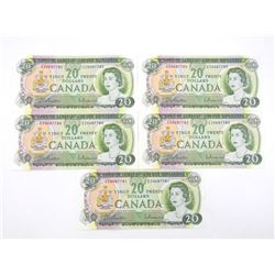 Group of (5) 1969 Canada 20.00 in Sequence, Choice