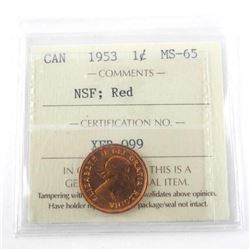 1953 Canada 1 Cent MS65. Red. NSF