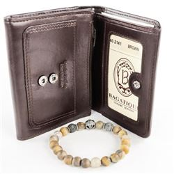 Lava Stone Bracelet and Leather Wallet