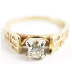 Estate Ladies 14kt Gold Diamond Solitaire Ring 3.6