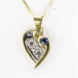 Estate Ladies 14kt Necklace Diamond and Sapphire H