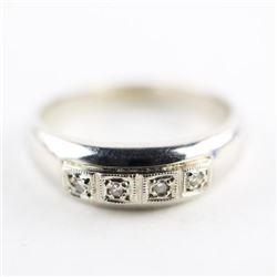 Estate 10kt White Gold Ring 4 Bead Set Diamonds Si