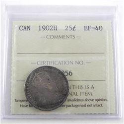 1902H Canada 25 Cent EF40. ICCS.