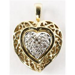Estate 14kt Gold Diamond Heart Pendant