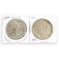 Lot (2) USA Silver Morgan Dollars 1900 and 1921 (E