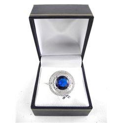 925 Silver Fancy Earring Halo Design, Sapphire blu