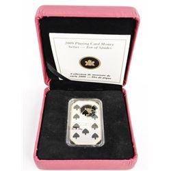 Estate 925 Sterling Silver $15.00 Ten Spades Coin
