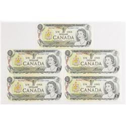 Lot (5) Bank of Canada 1973 1.00 UNC BAX PrefixÂ