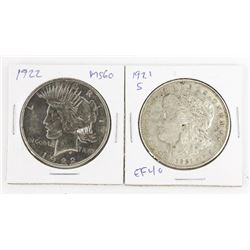 Lot (2) USA Silver Dollars 1921S EF40/1922 MS60