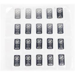 Lot (20) .9999 Fine Silver Bars 20oz ASW