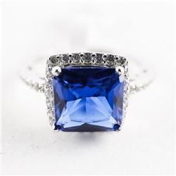 925 Silver Ring Size 6 Cushion Cut Sapphire Blue S