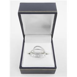 925 Silver Ring Fancy Swirl Design with Baguettes