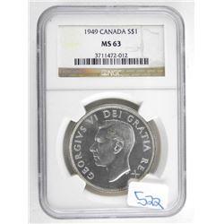Canada 1949 Silver Dollar NGC MS63.