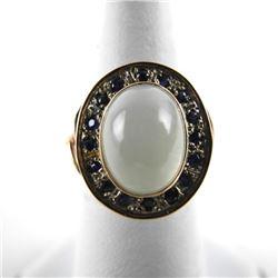Ladies 9kt British Gold Ring - Cabochon Moonstone