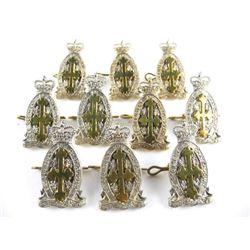 Lot (10) S. Sask Regt. Queens Crown Cap Badges