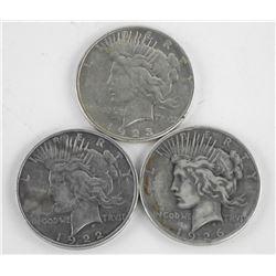 Lot (3) US Silver Peace Dollars 1922,1923,1926.