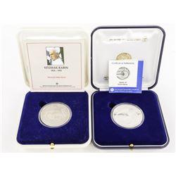 Lot (2) Israel State Medals .999 Fine Silver 60 gr
