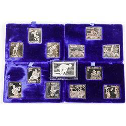 Estate Lot (13) .9999 Fine Silver Postage Stamps -