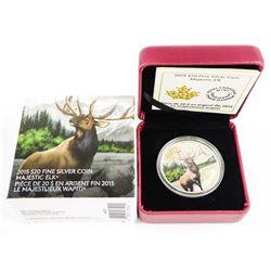 2015 .9999 Fine Silver $20.00 Coin 'Majestic Elk' LE with C.O.A .(SXR)