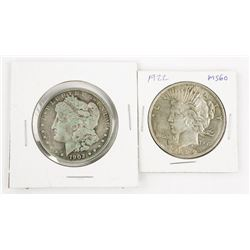 Lot (2) USA Silver Dollar 1922 and 1902