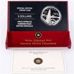 2005 .9999 Fine Silver $5.00 Coin Special Edition Proof 'ALBERTA' with C.O.A. (CE)
