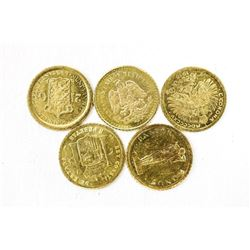 Lot (5) 8kt Gold Mini Coins