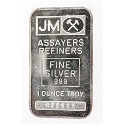 JM - Johnson Matthey Vintage.999 Fine Silver Bar SERIALIZED, Plain Back, No Logos with C.O.A. Collec