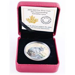 2016 .9999 Fine Silver $20.00 Coin 'Canadian Lynx'