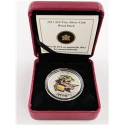 2013 .9999 Fine Silver $10.00 Coin 'Wood Duck' wit