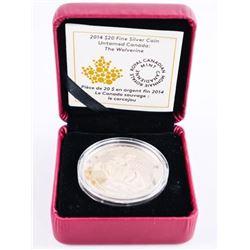 2014 .9999 Fine Silver $20.00 Coin WOLVERINE LE/C.