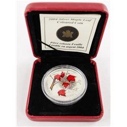 2004 .999 Fine Silver Coloured Maple Leaf $5.00 Co