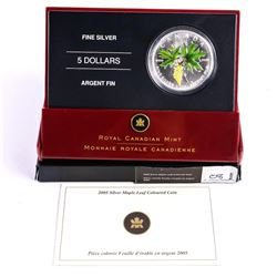 RCM 2005 .9999 Fine Silver $5.00 Coloured Maple Le