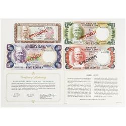 Bank of Sierra Leone Specimen Note Set. Scarce.