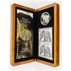 .9999 Fine Silver LE Stamp and Coin Set 'Grizzly B