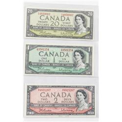 Group (3) Bank of Canada 1954 1.00, 2.00, 20.00 Mo