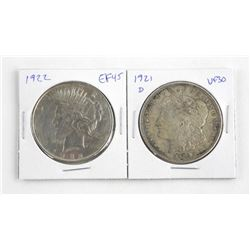 Lot (2) US Silver Dollars 1921 D and 1922 VF30 / E