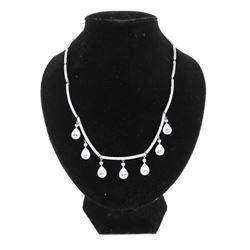 925 Silver Necklace with Drop Pear Cut Swarovski E