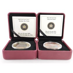 Lot (2) RCM 50 Cent Coins Santa and Holiday Train