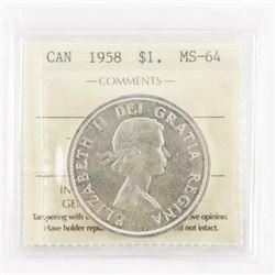 1958 Canada Silver Dollar MS-64. ICCS.