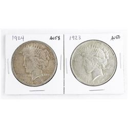 Lot (2) USA Silver Dollars: 1923 and 1924 AU50-58