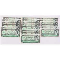 Lot (20) 1867-1967 One Dollar UNC