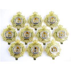 Lot (10) S. Sask, Regt. Queens Crown Cap Badges