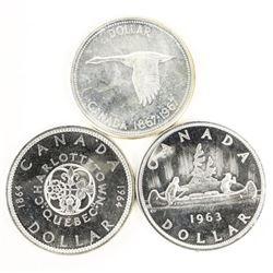 Lot (3) Canada Silver Dollars: 1963, 1964, 1967