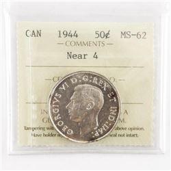 1944 Canada Silver 50 Cent Near 4 MS62